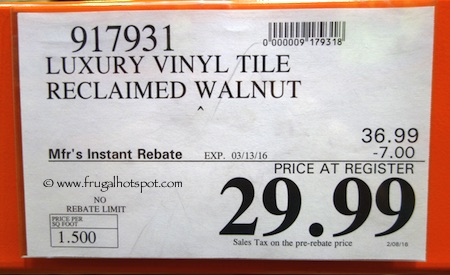 Reclaimed Walnut Luxury Vinyl Plank Floor Tile Costco Price Frugal Hotspot