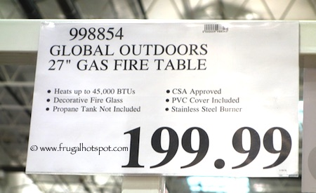 "Global Outdoors 27"" Wine Barrel Gas Fire Table Costco Price"