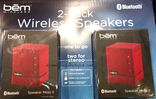 Bem Wireless 2-Pack Bluetooth Wireless Speakers Red Costco