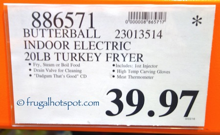 Butterball Indoor Electric Turkey Fryer XL Costco Price | Frugal Hotspot