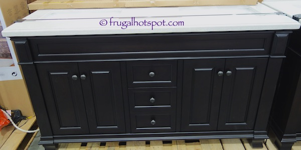 """60"""" Wood Vanity with Porcelain Double Sink Costco   Frugal Hotspot"""