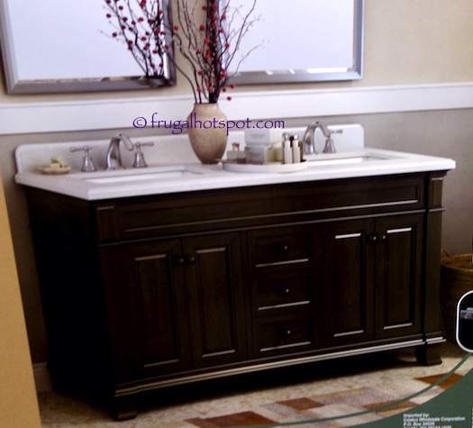 Costco 60 wood vanity with porcelain double sink frugal hotspot for Costco vanities for bathrooms
