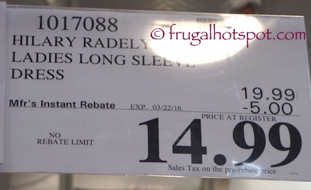 Hilary Radley Ladies' Long Sleeve Dress Costco Price | Frugal Hotspot
