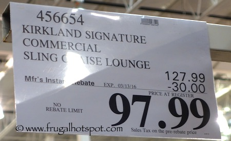 Kirkland Signature Commercial Sling Chaise Lounge Costco Price | Frugal Hotspot