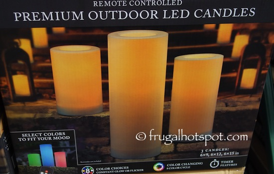 Remote Controlled Premium Outdoor LED Candles 3-Pack Costco | Frugal Hotspot