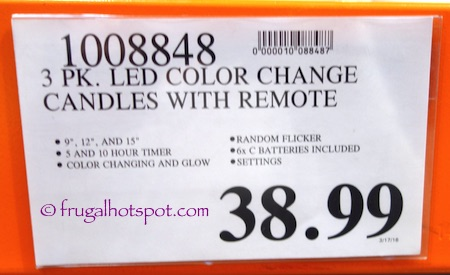 Remote Controlled Premium Outdoor LED Candles 3-Pack Costco Price | Frugal Hotspot