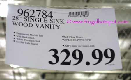 """28"""" Wood Vanity with Single Porcelain Sink Costco Price 