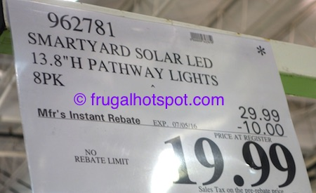 SmartYard LED Solar Pathway Lights 8-Piece Costco Price | Frugal Hotspot
