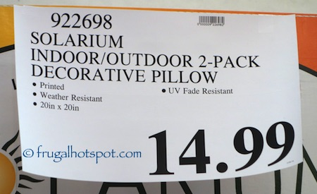 Solarium Indoor / Outdoor Decorative Pillow 2-Pack Costco Price | Frugal Hotspot