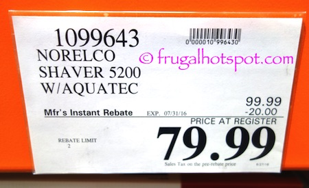 Norelco Shaver 5200 with Aquatec Costco Price \ Frugal Hotspot