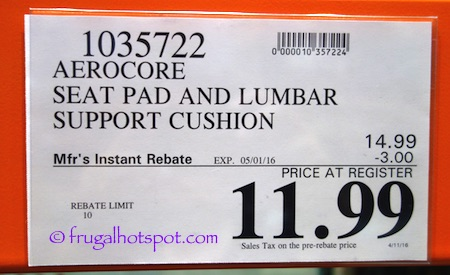 Aerocore Automotive Deluxe Lumbar Pillow and Seat Cushion Costco Price | Frugal Hotspot