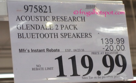 Acoustic Research Glendale Portable Wireless Speaker 2-Pack Costco Price | Frugal Hotspot