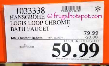 Hansgrohe Logis Loop Chrome Bath Faucet | Costco Price | Frugal ...