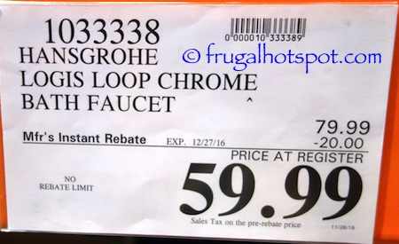 Hansgrohe Logis Loop Chrome Bath Faucet Costco Price | Frugal Hotspot