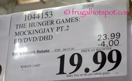 The Hunger Games: Mockingjay Part 2 Blu-ray + DVD + Digital HD Movie Costco Price | Frugal Hotspot
