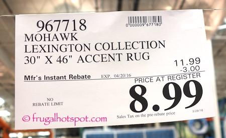 "Mohawk Lexington Collection 30"" x 46"" Accent Rug Costco Price 