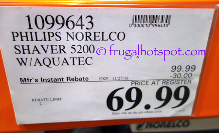 Philips Norelco Shaver 5200 with Aquatec Costco Price | Frugal Hotspot