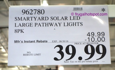 Smartyard Solar LED Large Pathway Lights 8-Pack Costco Price | Frugal Hotspot