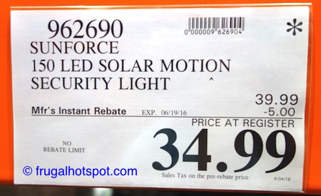 Sunforce 150 LED Solar Motion Security Light Costco Price | Frugal Hotspot