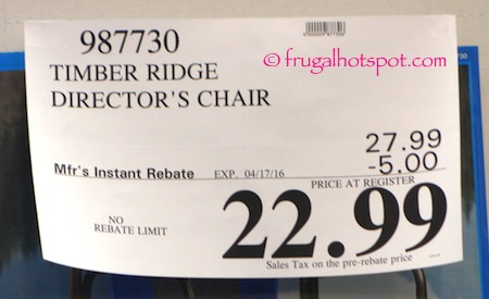 Timber Ridge Director's Chair Costco Price | Frugal Hotspot