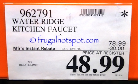costco sale: water ridge euro style pull-out kitchen faucet $48.99