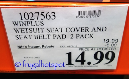 Winplus Wetsuit Seat Covers 2-Piece + Bonus 2 Seat Belt Pads Costco Price | Frugal Hotspot