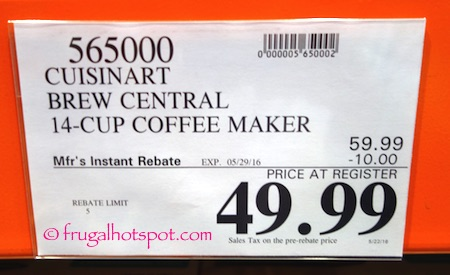 Cuisinart Brew Central 14-Cup Coffee Maker Costco Price | Frugal Hotspot