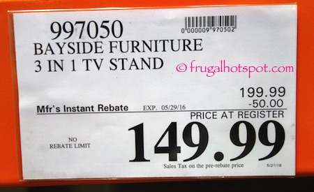 Bayside Furniture 3-in-1 TV Stand Costco Price | Frugal Hotspot