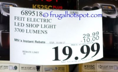 Costco Sale Price: Feit Electric 4 Ft. LED Shop Light