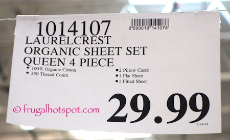Laurelcrest Organic Cotton Queen Sheet Set Costco Price | Frugal Hotspot