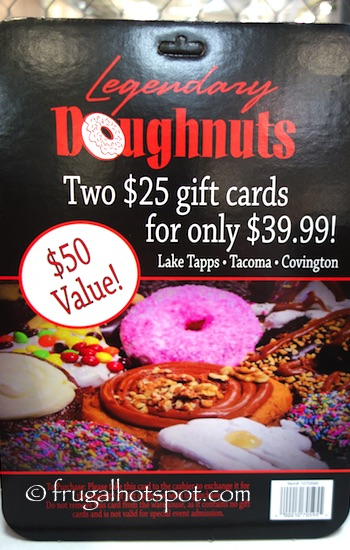 two $25 Legendary Doughnuts Gifts Cards Costco | Frugal Hotspot