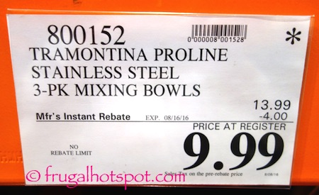 Tramontina Proline Stainless Steel 3-Pack Mixing Bowls Costco Price | Frugal Hotspot