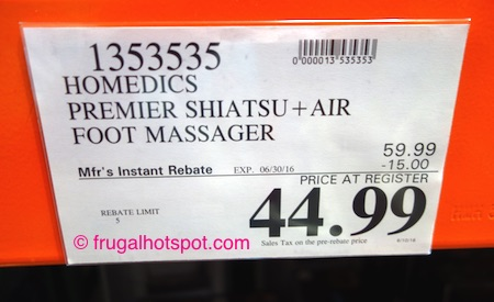 Homedics Shiatsu + Air Foot Massager with Heat Costco Price | frugal hotspot