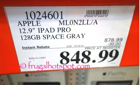 "Apple ML0N2LL/A 12.9"" iPad Pro Space Gray Costco Price 