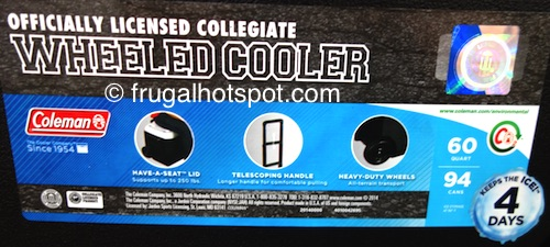 Coleman 60 Quart Officially Licensed Collegiate Wheeled Cooler Costco | Frugal Hotspot