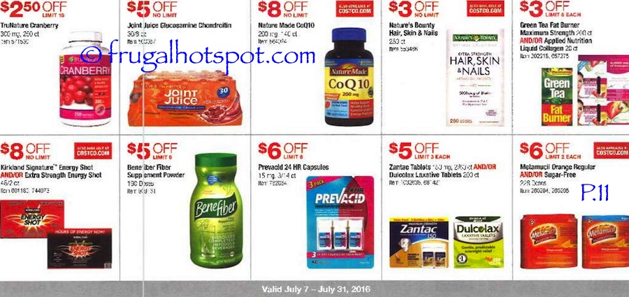 Costco Coupon Book: July 7, 2016 - July 31, 2016. Prices Listed. Page 11 | Frugal Hotspot