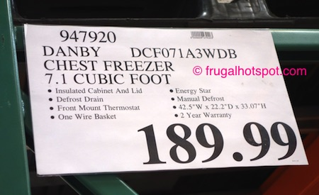 Danby 7.1 Cu Ft Chest Freezer Model #DCF071A3WDB Costco Price | Frugal Hotspot