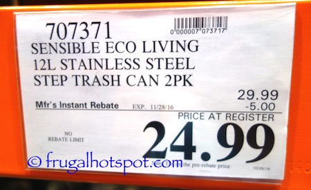 Sensible Eco Living Stainless Steel Trash Can 2-Pack Costco Price | Frugal Hotspot