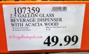Fifth Avenue Crystal Glass Beverage Dispenser with Acacia Wood Base Costco Price | Frugal Hotspot