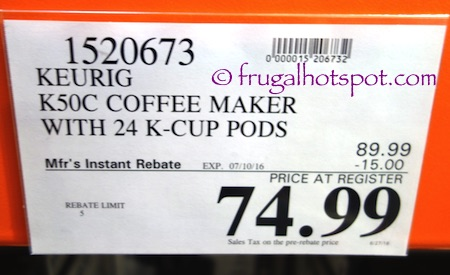 Keurig K50C Coffee Maker Costco Price | Frugal Hotspot