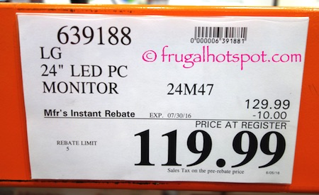 "LG 24"" LED Monitor 24M47 Costco Price 