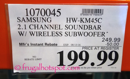 Samsung HW-KM45C Soundbar with Wireless Subwoofer Costco Price | Frugal Hotspot