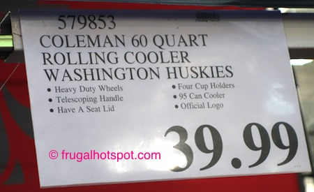 Coleman 60 Quart Officially Licensed Collegiate Wheeled Cooler (University of Washington Huskies) Costco Price | Frugal Hotspot