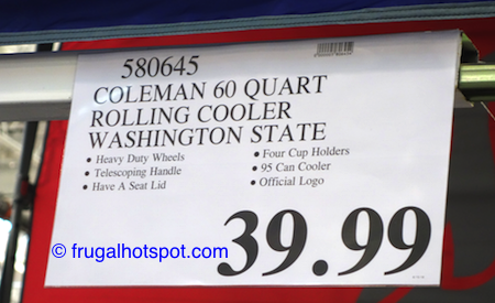Coleman 60-Quart Officially Licensed Collegiate Wheeled Cooler (Washington State University Cougars) Costco Price | Frugal Hotspot