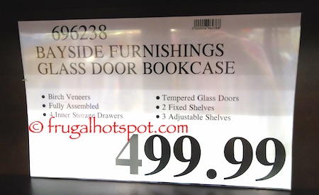 Bayside Furnishings Glass Door Bookcase Costco Price | Frugal Hotspot