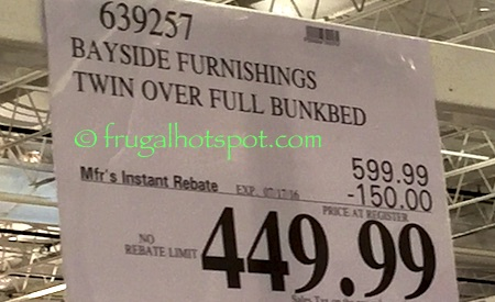 Bayside Furnishings Twin Over Full Bunk Bed Costco Price Frugal