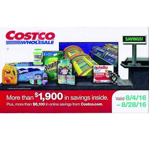 Costco Coupon Book: August 4, 2016 - August 28, 2016.
