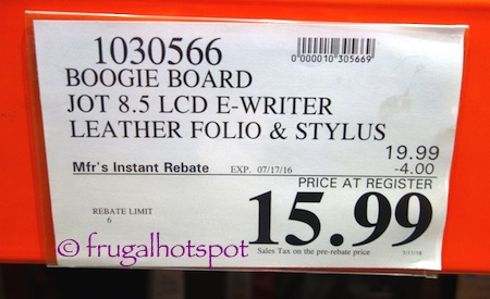 Boogie Board Jot 8.5 LCD E-Writer with Leather Folio and Stylus Costco Price | Frugal Hotspot