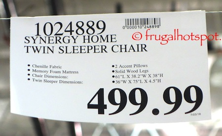 Synergy Home Twin Fabric Sleeper Chair Costco Price | Frugal Hotspot