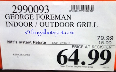 George Foreman Indoor Outdoor Electric Grill Costco Price | Frugal Hotspot